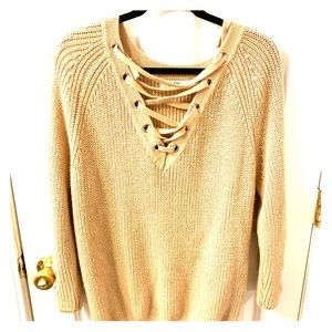 Tan Lace Up Sweater